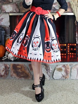 Ericdress Mid-Calf Skull Pleated Ethnic Skirt
