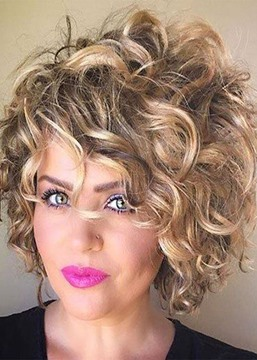 Ericdress Durable Women's Short Length Big Curly Ombre Color Synthetic Hair Capless Wigs 12 Inch