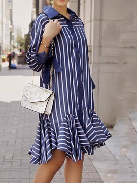 Ericdress Three-Quarter Sleeve Lace-Up Lapel Date Night/Going Out Stripe Dress