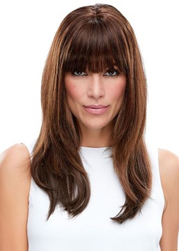 Ericdress Incredibly Natural Looking Women 's Long Brown Straight Human Hair Wigs Lace Front Wigs Wigs Bangs 22Inch