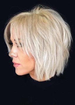 Ericdress Short Choppy Pixie Cut Hairstyles Women's Blonde Color Straight Human Hair Lace Front Cap Wigs 10Inch