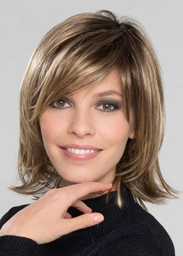 Ericdress Women's Sweet Shaggy Bob Medium Hairstyles Straight Synthetic Hair With Bangs Capless Wigs 12 Inches