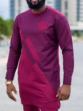 Ericdress African Fashion Color Block Casual Straight Men's Slim Shirt