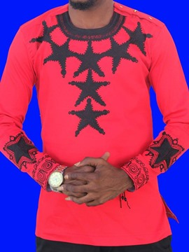 Ericdress African Fashion Casual Print Round Neck Straight Men's Shirt