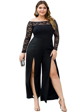 Ericdress Sexy Lace Plain Slim Jumpsuit