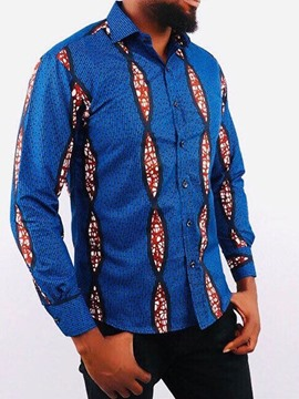 Ericdress African Fashion Print Casual Lapel Single-Breasted Spring Men's Shirt