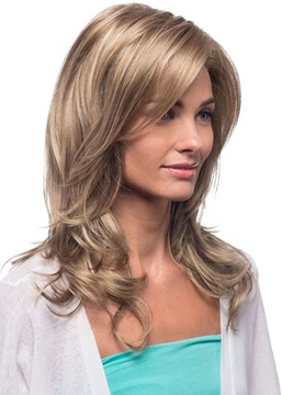 Ericdress Blonde Color Women's Long Length Natural Looking Loose Wave Human Hair Lace Front Cap Wigs 22Inch