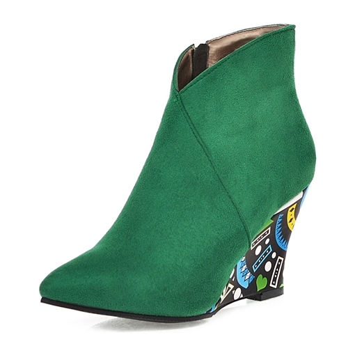 Ericdress Wedge Heel Pointed Toe Color Block Women's Ankle Boots