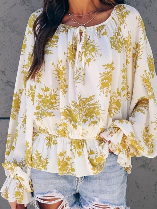 Ericdress Plant Print Long Sleeve Mid-Length Blouse