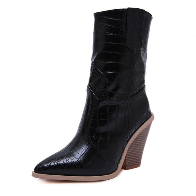 Ericdress_Color_Block_Pointed_Toe_Chunky_Heel_Womens_Ankle_Boots