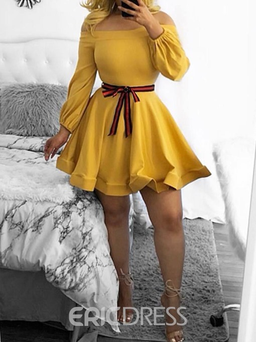 Ericdress Nine Points Sleeve Off Shoulder Bowknot A-Line Date Night/Going Out Dress