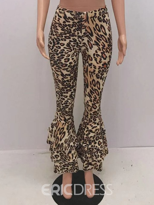 Ericdress Slim 3D Leopard Bellbottoms Full Length Casual Pants