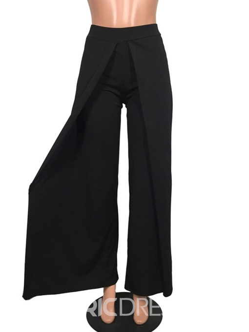 Ericdress Slim Plain Full Length Straight Wide Legs Casual Pants