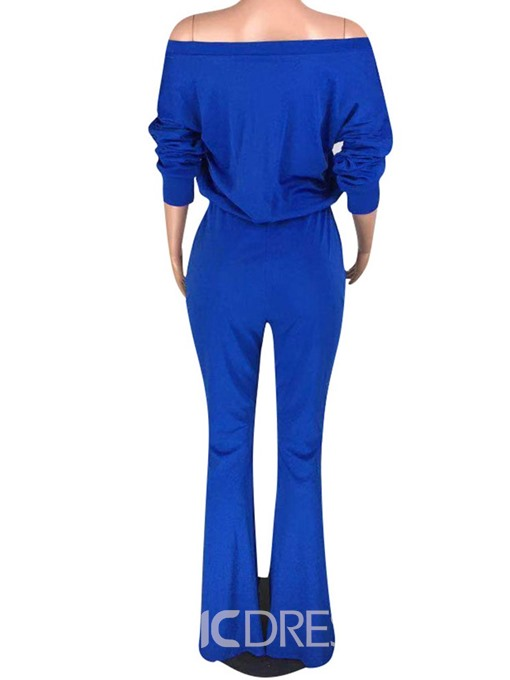 Ericdress Casual Full Length Lace-Up Bellbottoms Slim Jumpsuit
