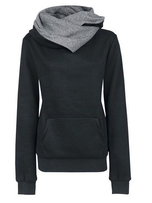 Ericdress Regular Patchwork Color Block Mid-Length Fall Hoodie