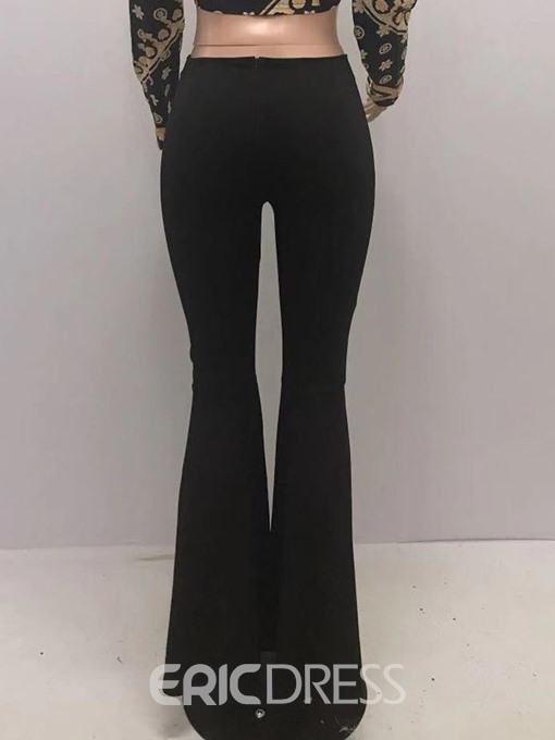 Ericdress Slim Button Plain Bellbottoms Full Length Casual Pants