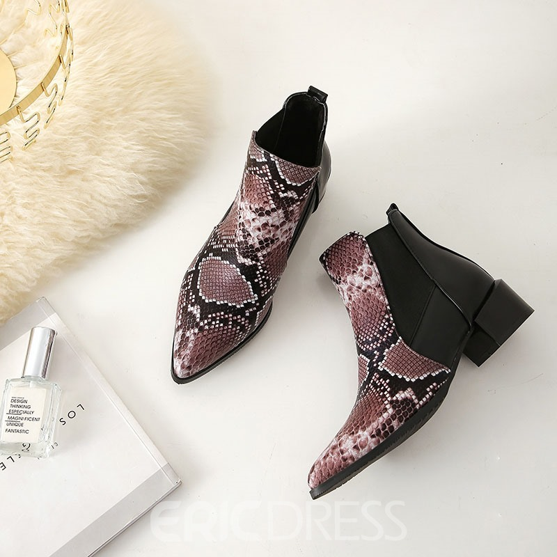 Ericdress Serpentine Pointed Toe Chunky Heel Slip-On Women's Ankle Boots
