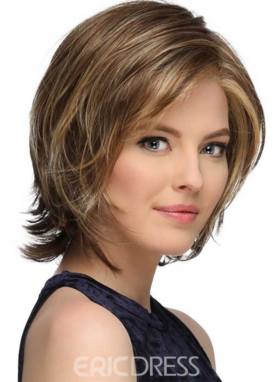 Ericdress Women's Short Softly Layered Bob Hairstyles Lace Front Cap Wigs Straight 100% Human air Wigs 12Inch