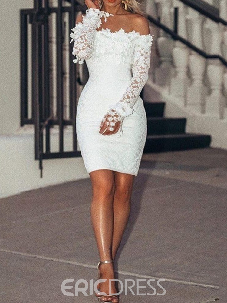 Ericdress Above Knee Lace Long Sleeve Pullover Elegant Dress