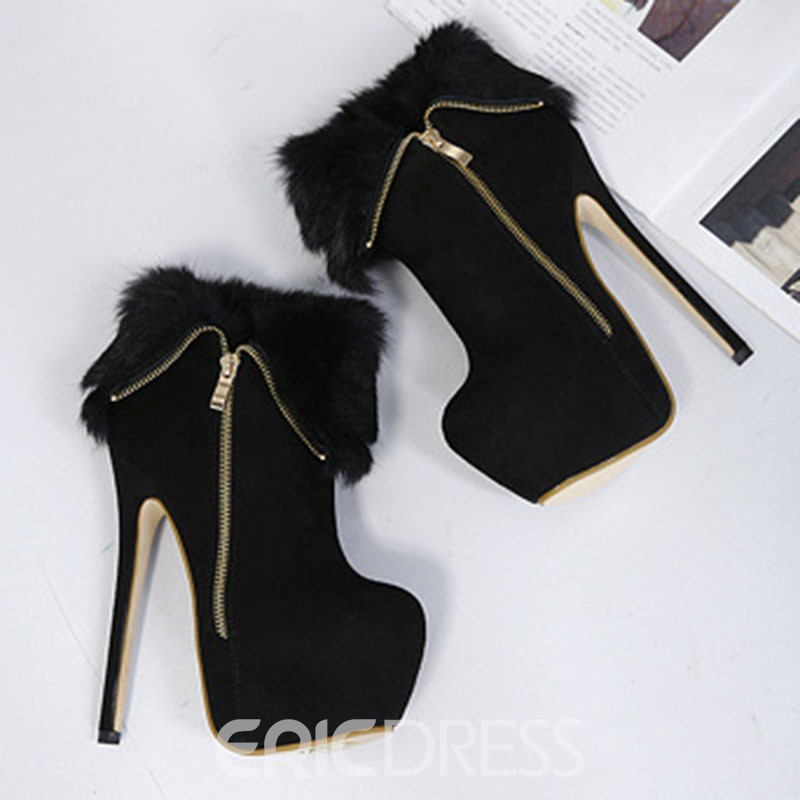 Ericdress Faux Suede Patchwork Stiletto Heel Side Zipper Women's Ankle Boots