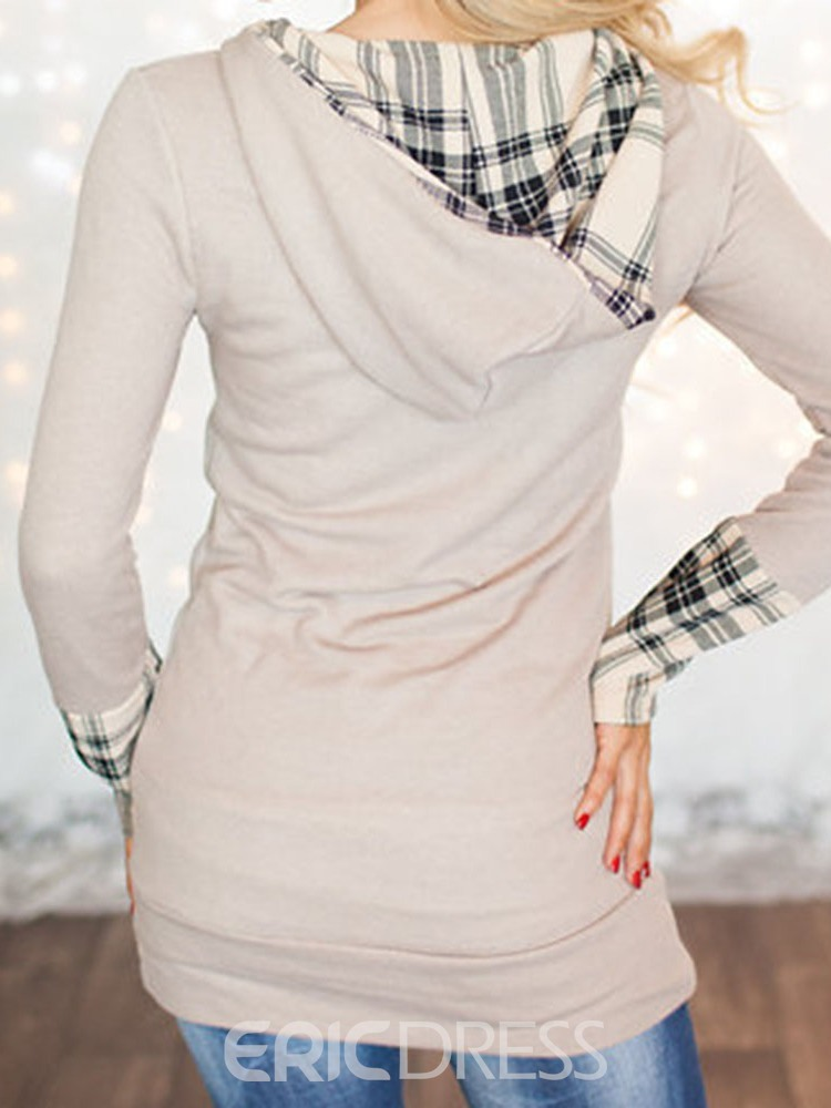 Ericdress Patchwork Plaid Regular Fall Long Sleeve Hoodie