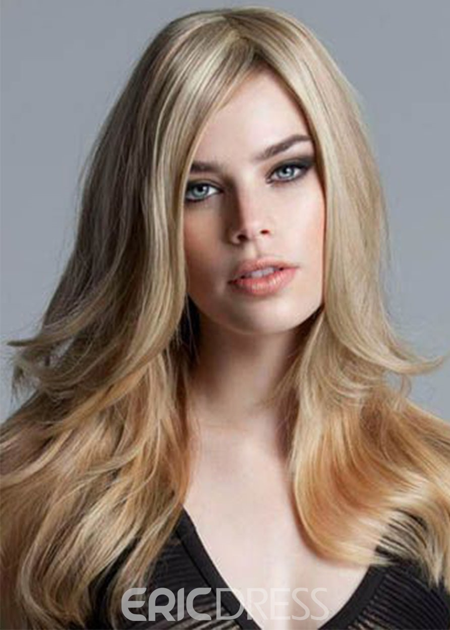 Ericdress Natural Gold Blonde Color Women's Long Length Hairstyles Straight Synthetic Hair Capless Wigs 24Inch