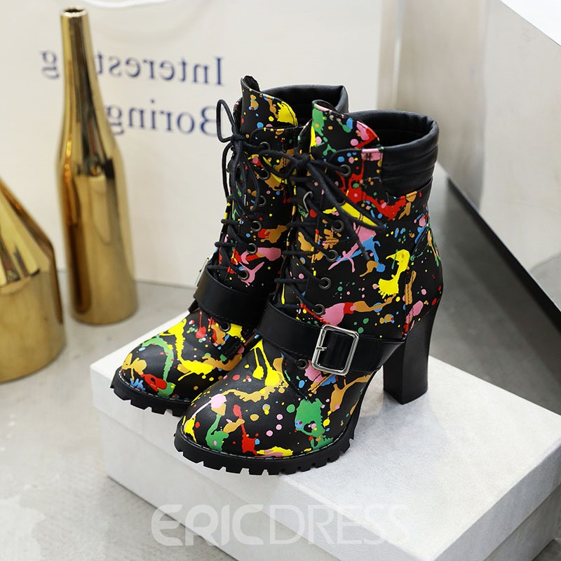 Ericdress Chunky Heel Color Block Round Toe Women's Ankle Boots