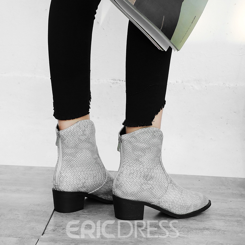Ericdress Plain Pointed Toe Chunky Heel Back Zip Women's Ankle Boots