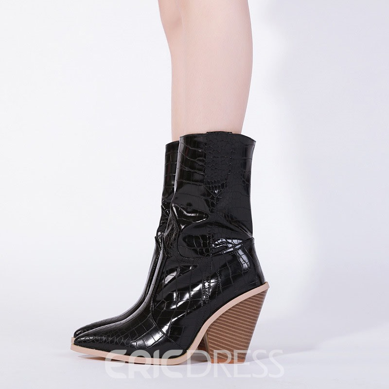 Ericdress Color Block Pointed Toe Chunky Heel Women's Ankle Boots