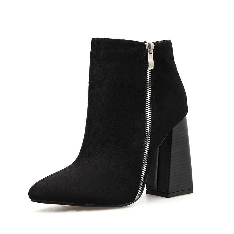 Ericdress Plain Side Zipper Chunky Heel Pointed Toe Women's Ankle Boots