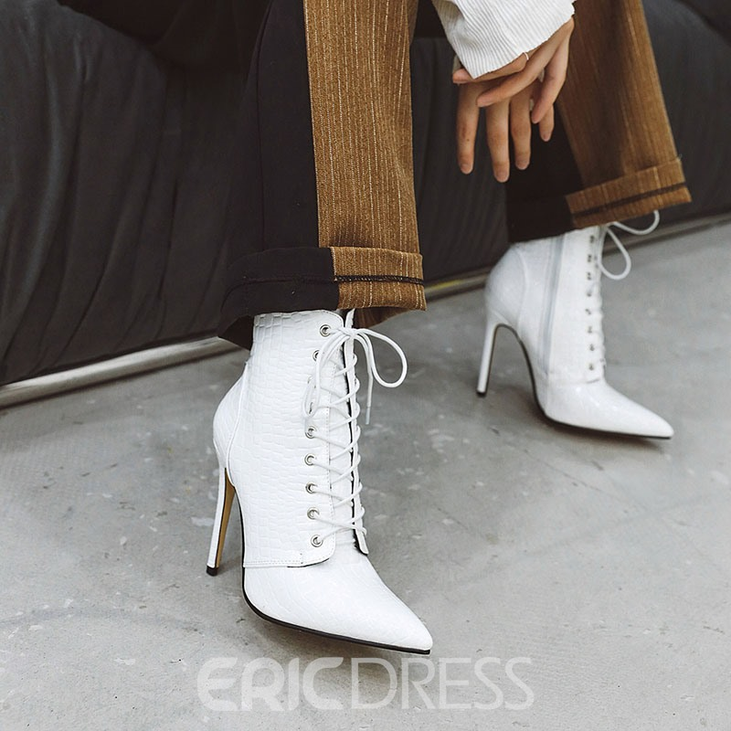 Ericdress PU Side Zipper Stiletto Heel Pointed Toe Women's Ankle Boots