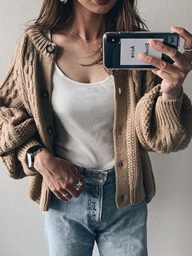 Ericdress Button Single-Breasted Long Sleeve Loose Sweater