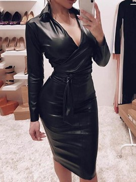 Ericdress Long Sleeve Knee-Length V-Neck Plain Pullover Dress