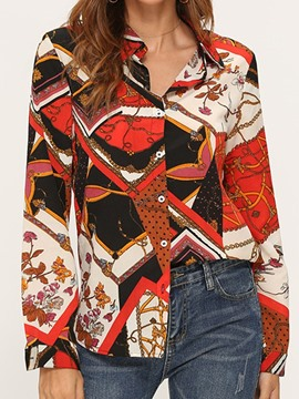 Ericdress Color Block Regular Print Mid-Length Long Sleeve Blouse