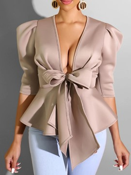 Ericdress Plain V-Neck Bowknot Standard Three-Quarter Sleeve Blouse