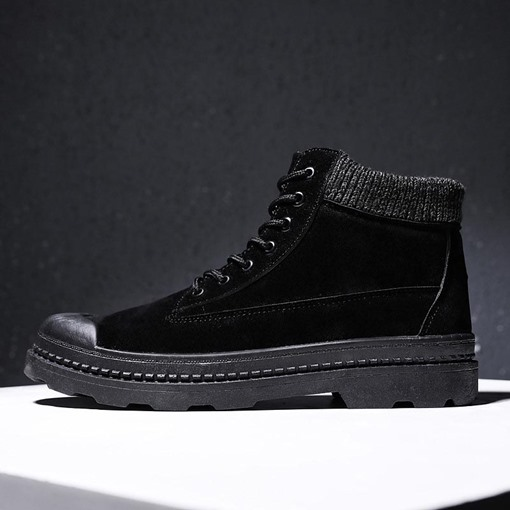 Ericdress Lace-Up Front Round Toe Color Block Men's Boots