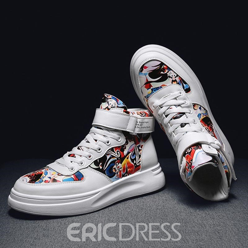 Ericdress Print Velcro High-Cut Upper Round Toe Men's Skate Shoes