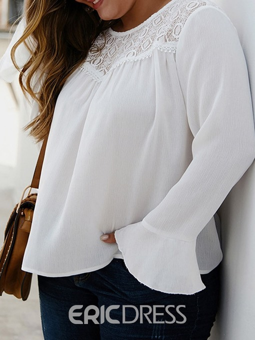 Ericdress Plus Size Hollow Flare Sleeve Plain Long Long Sleeve Blouse