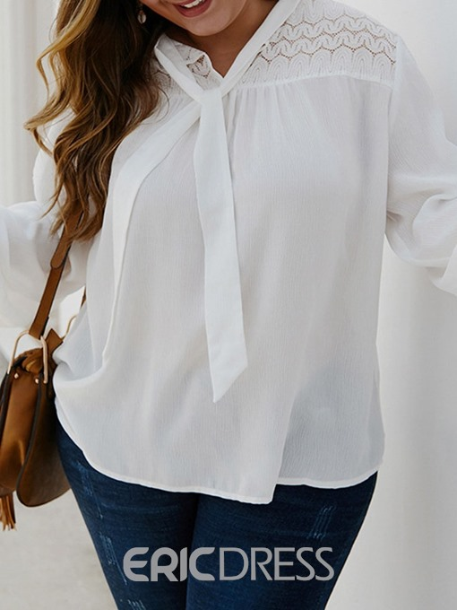 Ericdress Plus Size Plain Hollow Round Neck Short Sleeve Mid-Length Blouse