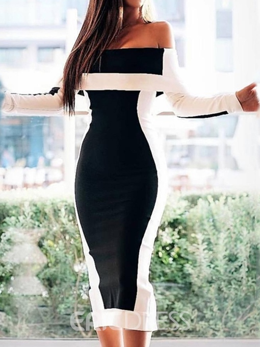 Ericdress Long Sleeve Mid-Calf Patchwork Fall Bodycon Dress