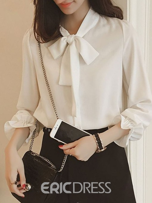 Ericdress Flare Sleeve Bowknot Long Sleeve Standard Blouse