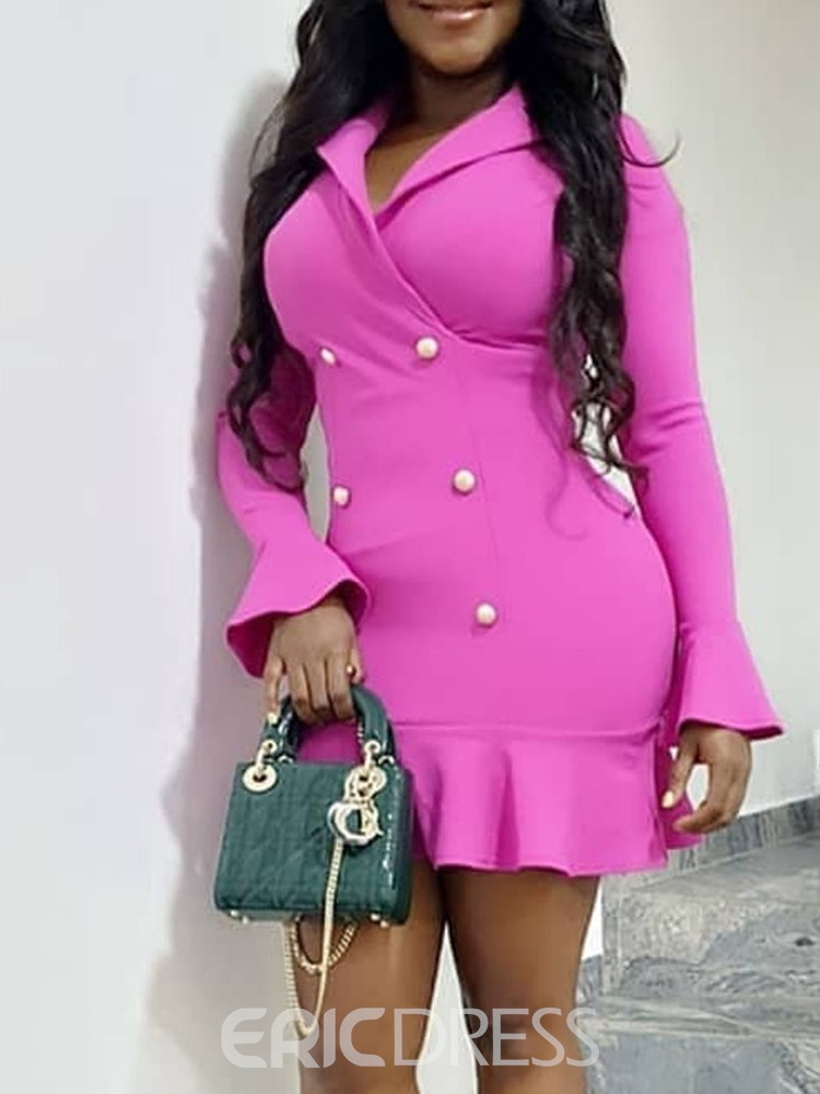 Ericdress Long Sleeve Above Knee Notched Lapel Standard-Waist Double-Breasted Dress