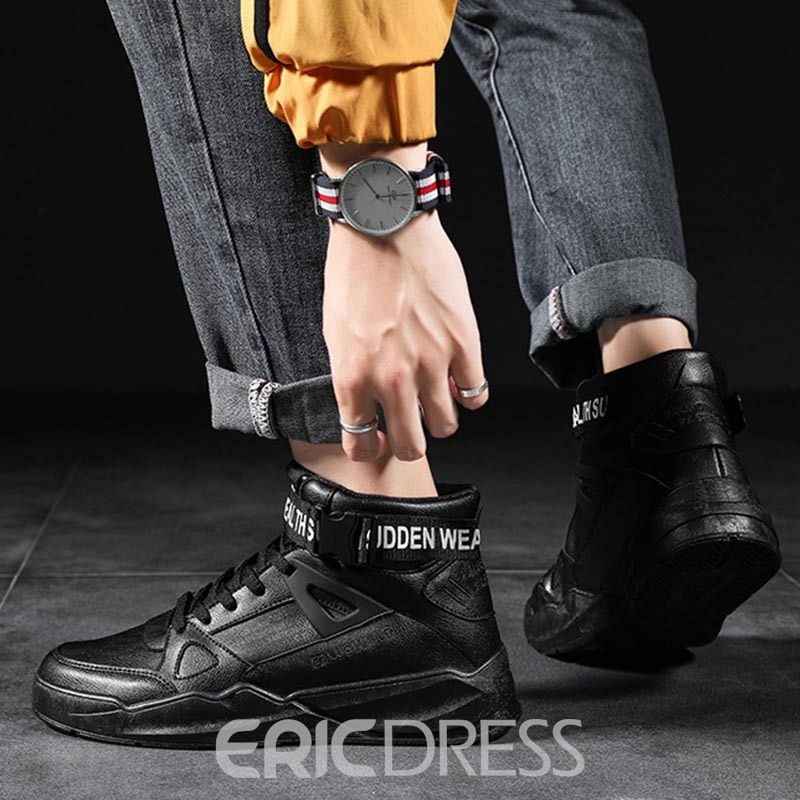 Ericdress PU Lace-Up Mid-Cut Upper Men's Sneakers