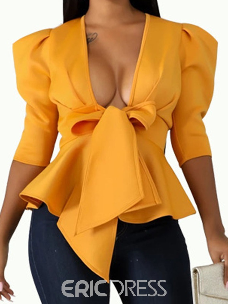 Ericdress Bowknot Plain Mid-Length Half Sleeve Blouse
