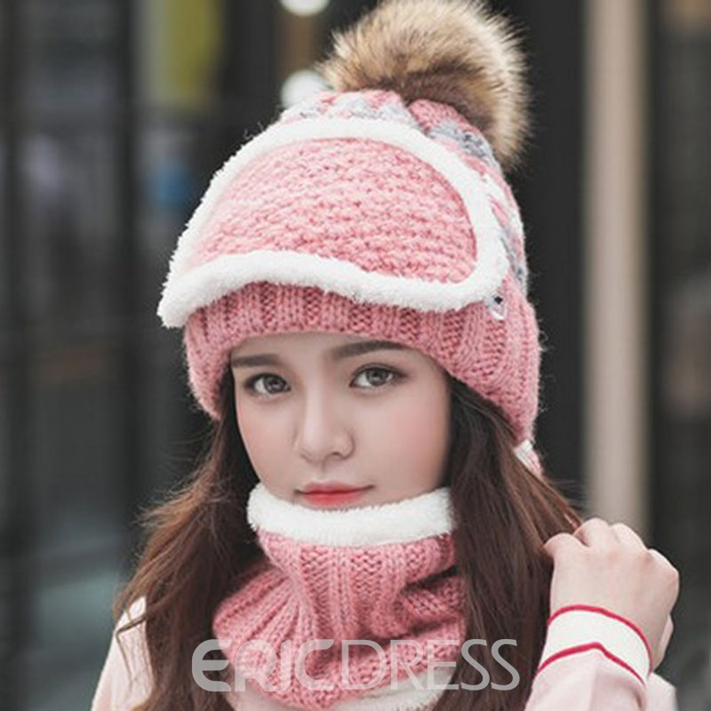 Ericdress Knitted Hat Casual Stripe Winter Hats