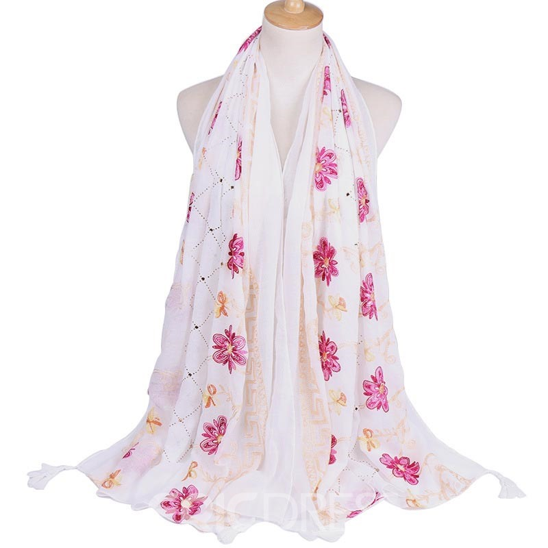 Ericdress Embroidery Vintage Floral Scarves