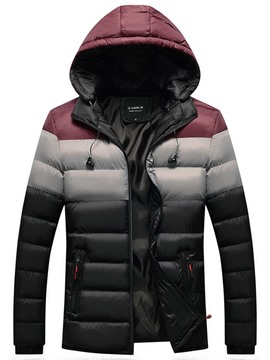 Ericdress Hooded Color Block Zipper European Men's Down Jacket