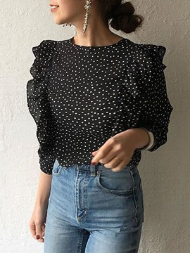 Ericdress Polka Dots Button V-Neck Three-Quarter Sleeve Standard Blouse