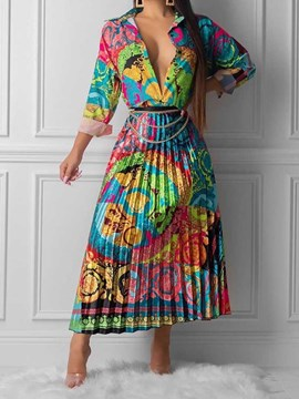 Ericdress Color Block Print Lapel Two Piece Sets