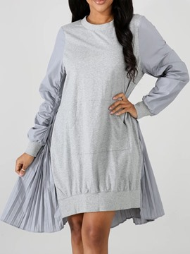 Ericdress Mid-Calf Long Sleeve Round Neck Plain Asymmetrical Dress